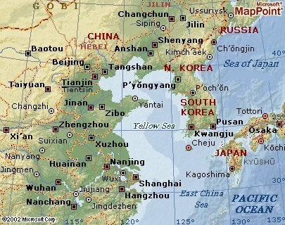 Yellow Sea Map Geographic Coordinates Area Location Geography